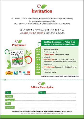 CERESA - États Généraux de la Filière Bois - Invitation - Vignette