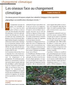 Les oiseaux face au changement climatique - Vignette