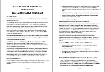 Liste d'alternative syndicale - Vignette
