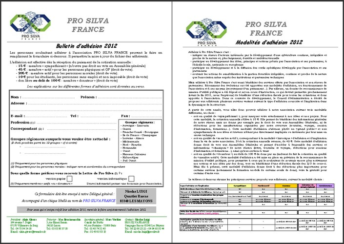 Pro Silva - Bulletin d'adhésion 2012 - Vignette