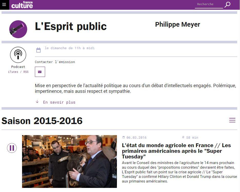 France-Culture - L'esprit public - La crise agricole - 6 mars 2016 - Vignette