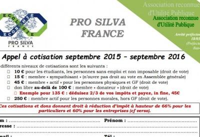 Pro Silva - Bulletin d'adhésion 2016 - Vignette