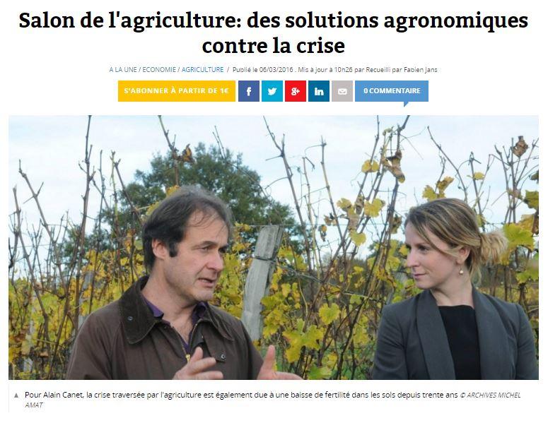 Salon de l'agriculture - des solutions agronomiques contre la crise - Sud-Ouest - 20160306 - Vignette