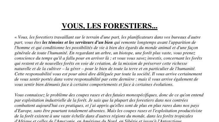 Vous, les forestiers... - Vignette
