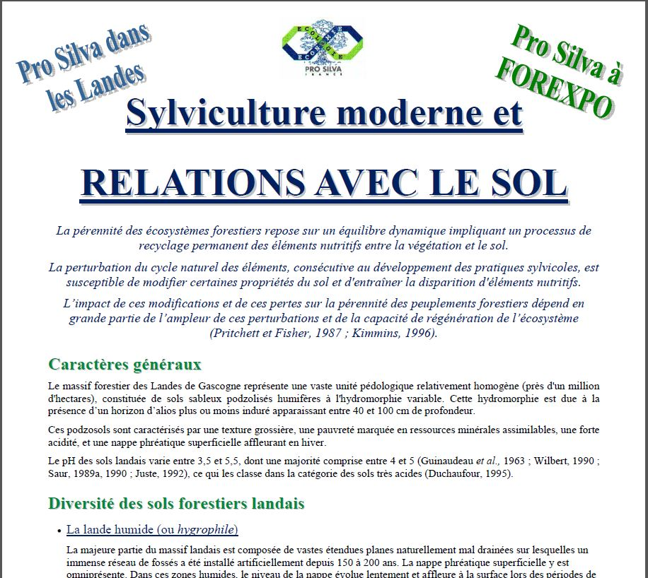 Sylviculture moderne et RELATIONS AVEC LE SOL - Vignette