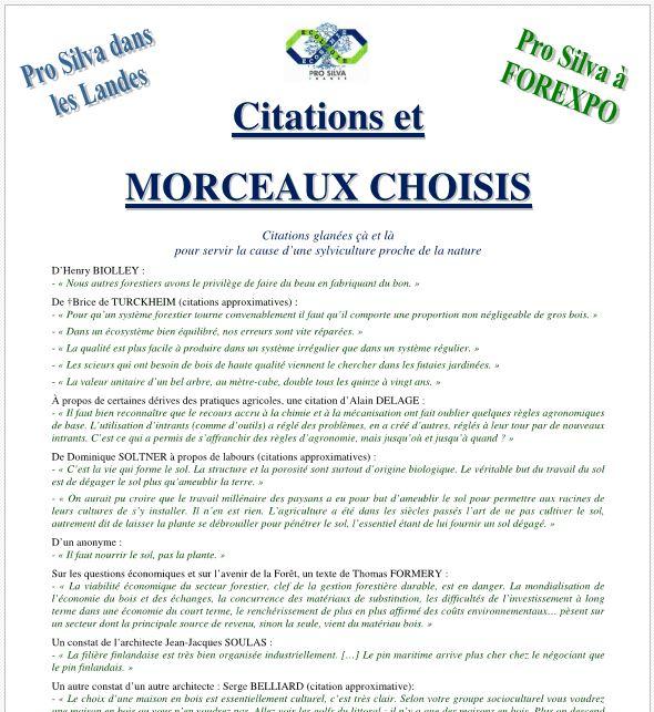 Citations et MORCEAUX CHOISIS - Vignette