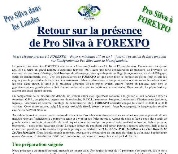 Retour sur la présence de Pro Silva à FOREXPO - Vignette