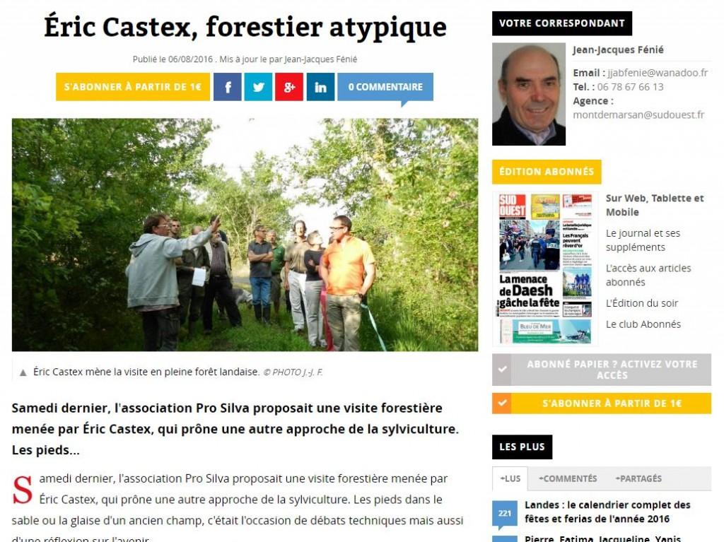 Éric CASTEX, forestier atypique - Sud-Ouest 20160806 - Vignette