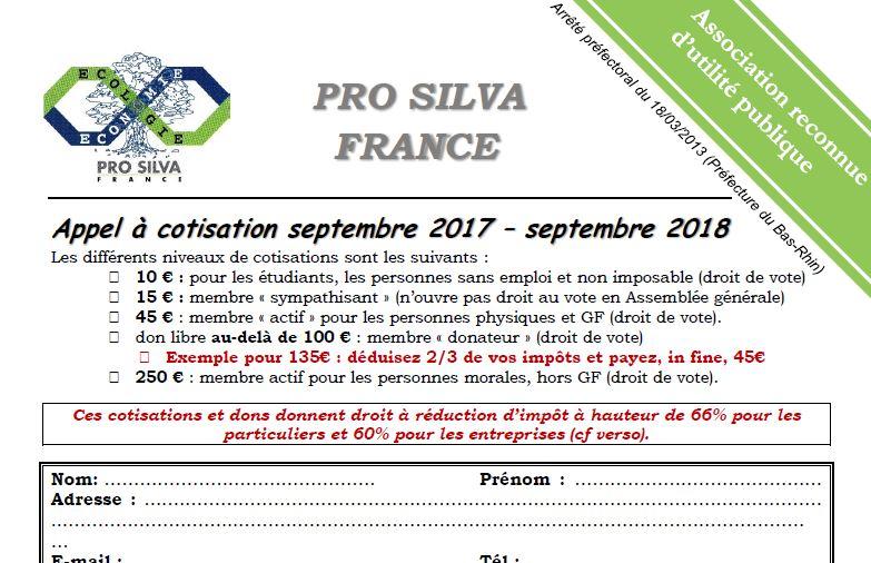 Pro Silva - Bulletin d'adhésion 2018 - Vignette